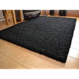 Shaggy Thick Modern Luxurious Black Rug High Pile Long Pile Soft Pile Anti Shedding Available in 9 Sizes (133cm x 190cm 4ft 4 x 6ft 2) by SuperRugStore