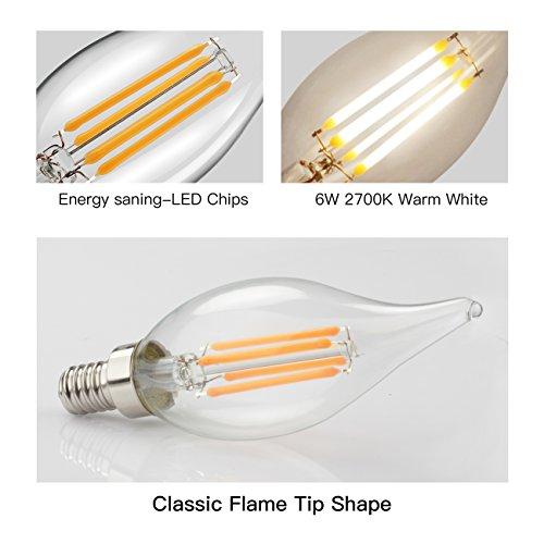 60w Led Candelabra Bulbs: E12 LED Candelabra Bulb 60W Equivalent Dimmable LED Chandelier Light Bulbs 6W 2700K Warm White