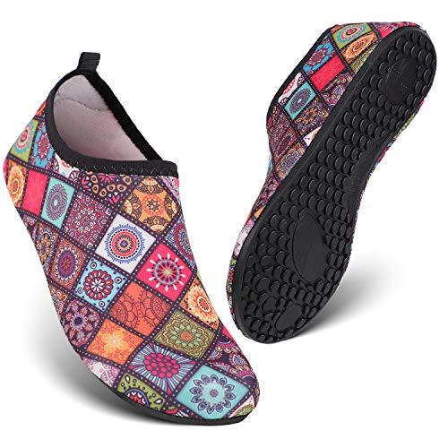 HEETA Water Sports Shoes for Women Men Quick Dry Aqua Socks Swim Barefoot Shoes for Beach Pool Surf Swim Yoga Flower L