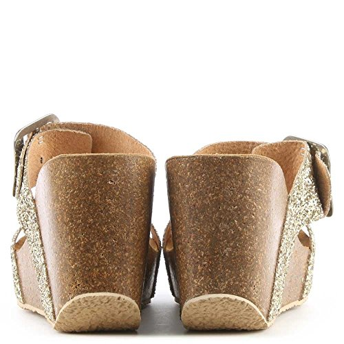 Daniel Patrinia Gold Glitter Metallic Two Bar Wedge Sandal Gold Metalic