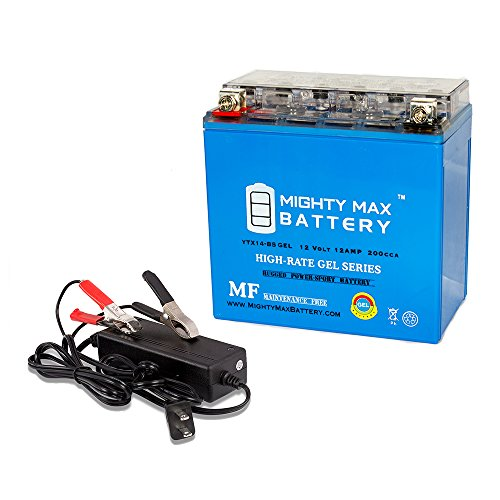 YTX14-BSGEL Replaces Kawasaki VN800-A,B,C,E Vulcan 97 + 12V 2A Chargr - Mighty Max Battery brand product by Mighty Max Battery