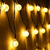 Image of Angel Kiss Solar Outdoor String Lights Warm White 29.5 ft 50 LED Crystal Ball Christmas Globe Lights for Garden Path, Party, Patio Christmas Tree, Bedroom Decoration and Holiday Decorations