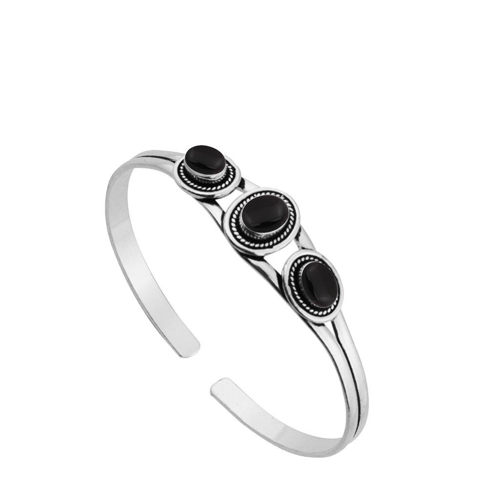 Sterling Silver Jewelry 5.45ct, Genuine Black Onyx & 925 Silver Plated Bangle Made