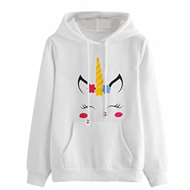 d6b81979d048 MVPKK Femmes Sweat-Shirts Long Mode Blanc Licorne Sweat-Shirt Tops de Sport  T-Shirts à Manches Longues Blouse Pull Chic Sweats à Capuche Swag   Amazon.fr  ...