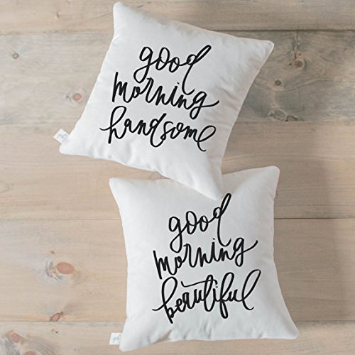 Throw Pillowcase Set - Good Morning Handsome and Beautiful calligraphy home decor, wedding gift, engagement present, housewarming, cushion - Mall Wv