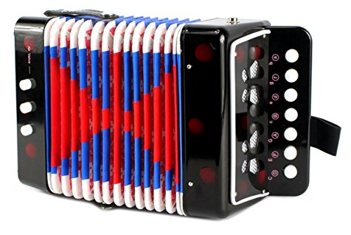 Mini Musician Pro Toy Accordion Children's Instrument w/ 7 Treble Keys, 3 Air Valves, Hand Strap (Black)