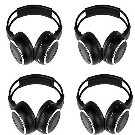 4 Pack of Wireless IR Headband Folding Headset Wireless Headphone Portable with Music Video TV Mp3