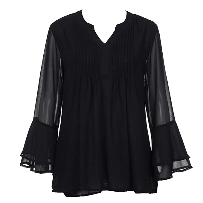 rivenditore di vendita 30607 26010 Camicia Donna Elegante Chiffon Cerimonia Scollo A V Maniche Lungo ...