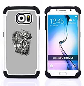 - pirate skull captain ship ahoy grey - - Doble capa caja de la armadura Defender FOR Samsung Galaxy S6 G9200 RetroCandy