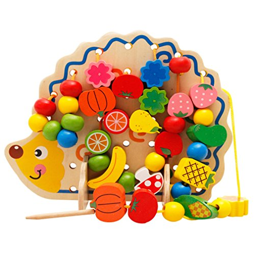 Simingyou Learning Education Wooden Toys Hedgehog Fruit Beads 82 piece