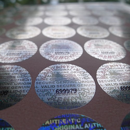 100 Round Bright Silver Hologram Sequentially Numbered Tamper Evident Security Labels/stickers (Hologram Stickers Numbered)