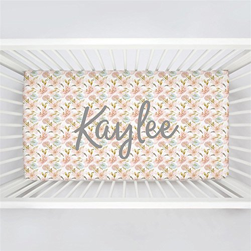 Carousel Designs Personalized Custom Pink Hawaiian Floral Crib Sheet Kaylee Idea - Organic 100% Cotton Fitted Crib Sheet - Made in the (Hawaiian Baby Crib Bedding)