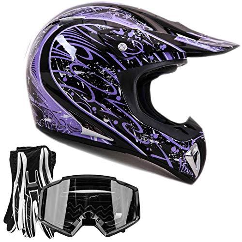 Adult Offroad Helmet Goggles Gloves Gear Combo Black Purple Splatter (Large)