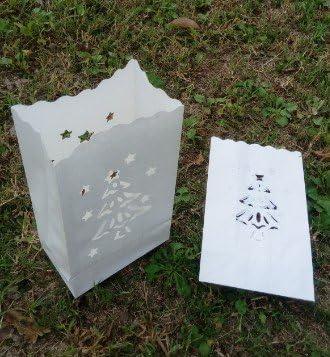 Christmas Tree White Christmas Holiday Decor Luminaria 100 Luminary Bags