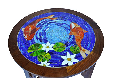 (Walnut table with koi mosaic inlay)