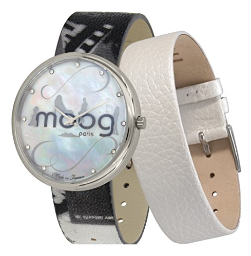 Moog Paris Ronde Vogue Women's Watch with White Mother of Pearl Dial, Eclectic Strap in Genuine Leather - M41672-A12