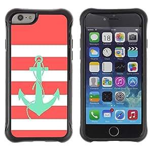 Suave TPU GEL Carcasa Funda Silicona Blando Estuche Caso de protección (para) Apple Iphone 6 / CECELL Phone case / / Anchor Teal Pink White Lines Sailor Boat /