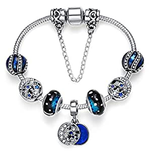 Silver Plated Star Moon Beads with White Crystal Murano glass charm bracelet for women Girls Jewellry Gift 18cm