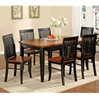 247SHOPATHOME Idf-3101T 7PC Dining-Room, 7-Piece Set, Black