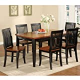 247SHOPATHOME IDF-3101T 7PC Dining-Room-Sets, 7-Piece, Black