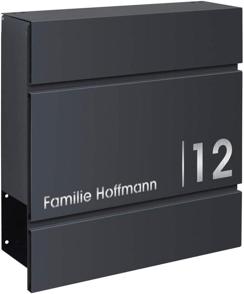 Frabox/® Design Briefkasten LENS anthrazitgrau RAL 7016 mit Zeitungsfach Hausnummer und Namen