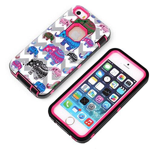 iPhone 5s cas, iPhone 5 cas, Lantier Elephant Motif [3 en 1 Série Shield] Cas hybride avec Inner silicone souple et Housse extérieure dure PC pour Apple iPhone 5 / 5s Mint Green