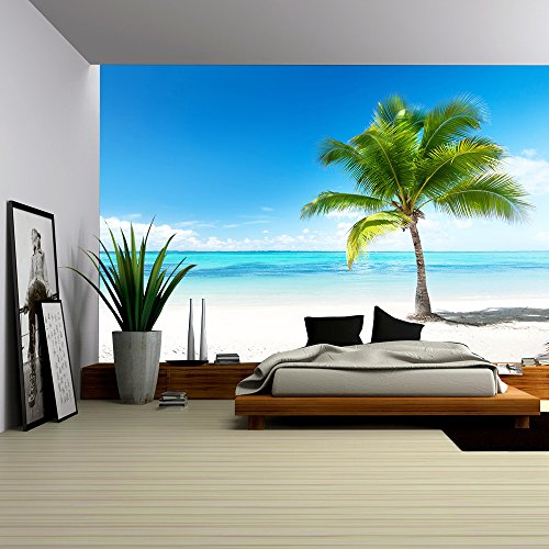 wall26 - palm and beach - Removable Wall Mural | Self-adhesive Large Wallpaper - 100x144 inches