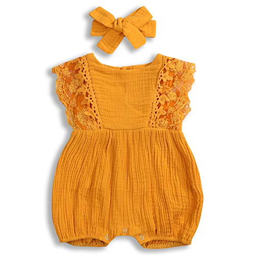 KCSLLCA Baby Girls Lace Romper Set Ruffle Sleeve Solid Color Onesie with Headband (Yellow, 12-18 Months) ()