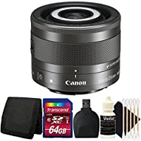 Canon EF-M 28mm f/3.5 Macro IS STM Lens for M Series Cameras + 64GB Memory Card + Wallet + Reader + 3pc Cleaning Kit