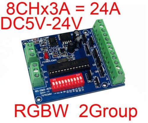 FidgetGear RGBW 8 Channel DMX Controller 2 Group 8CH 3A /CH Decoder For LED strip light from FidgetGear