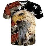 RXBC2011 Men's American Flag Eagle 3D Printed T-Shirt USL Black