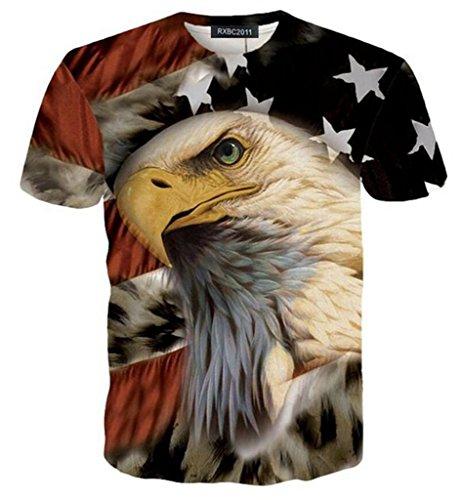 RXBC2011 Men's American Flag Eagle 3D Printed T-Shirt USXL Black ()