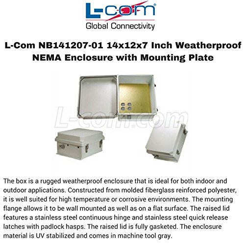 L-Com NB141207-01 14x12x7 Inch Weatherproof NEMA Enclosure with Mounting Plate by L-com