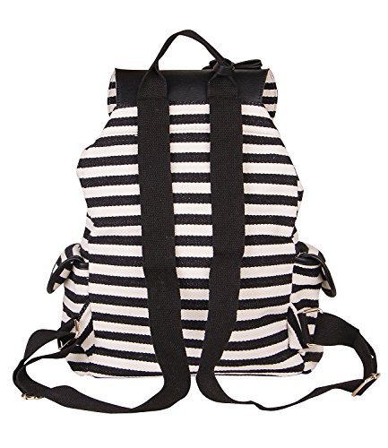 and details sac 917 look 463 canvas handbag pc SIX black stripes big backpack of women satchel golden white 1 Ra6Rw4qfWF