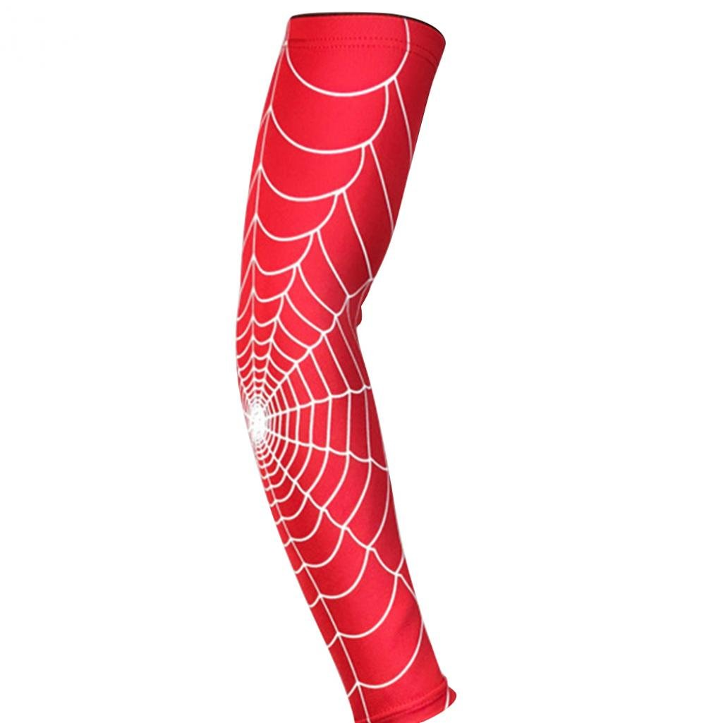 timeracing Arm Sleeve Fashion Spider Web Pattern Arm Guard Tennis Badminton Sports Elbow Pad Brace UV Protection Sleeves
