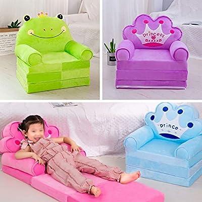 MOCOHANA Plush Foldable Kids Sofa Backrest Chair Children's Flip Open Sofa Bed Kids Upholstered Foam Chair Toddler Recliner Cute Cartoon Toddler Armchair for Living Room Bedroom 45.3