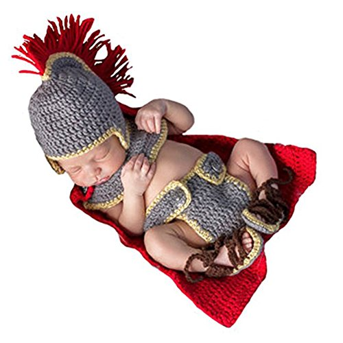 Costume Army Womens General (IFUNEYS Newborn Baby Crochet Costume Photography Props Army General Set)