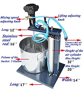 pneumatic mixer with stand and 5 gallon barrel