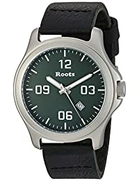Roots Men's 'Core' Quartz Stainless Steel and Leather Casual Watch, Color:Black (Model: 1R-LF400GN2B)