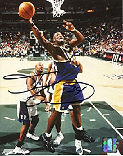 Oneal Autographed Photograph Shaquille - Shaquille O'Neal Autographed Dunk vs. Bucks Los Angeles Lakers 8x10 Photo - Autographed NBA Photos