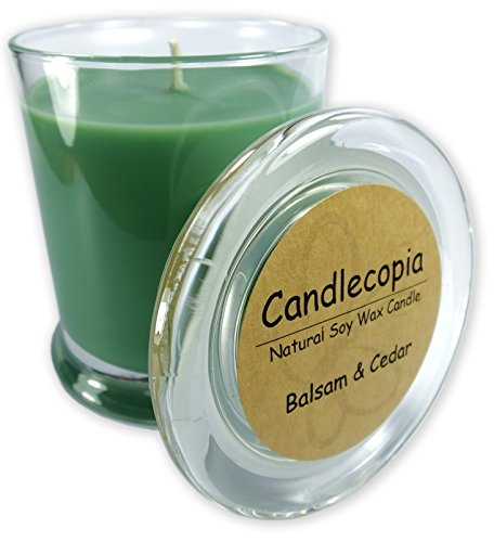 Candlecopia Balsam & Cedar Strongly Scented Hand Poured Vegan Candle, Status Jar, Glass Lid