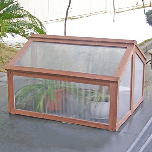 Greenhouses Wooden Double Box Garden Cold Frame Raised Plants Bed Protection