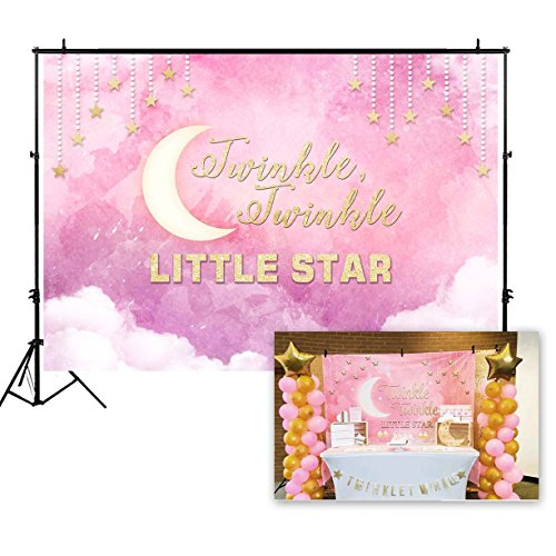 Funnytree 7X5FT Polyester Pink Twinkle Little Star Backdrop Clouds Baby Girl Princess Shower Birthday Party Decorations Watercolor Photography Background Photo Booth Banner