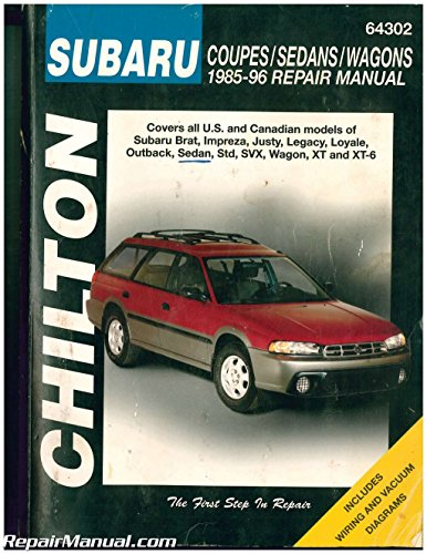- UCH64302 Used Subaru Brat Impreza Justy Legacy Loyale Outback Sedan Std SVX Wagon XT XT-6 1985-1996 Repair Manual