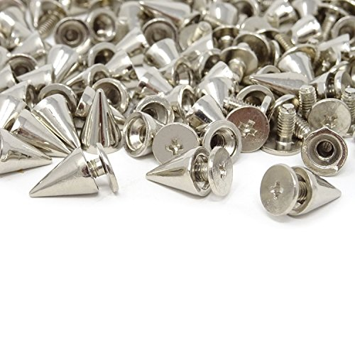 Honbay 100 Sets 7x10mm Silver Punk Style Bullet Cone Spikes Rivets with Screw Backs for DIY Leathercraft ()