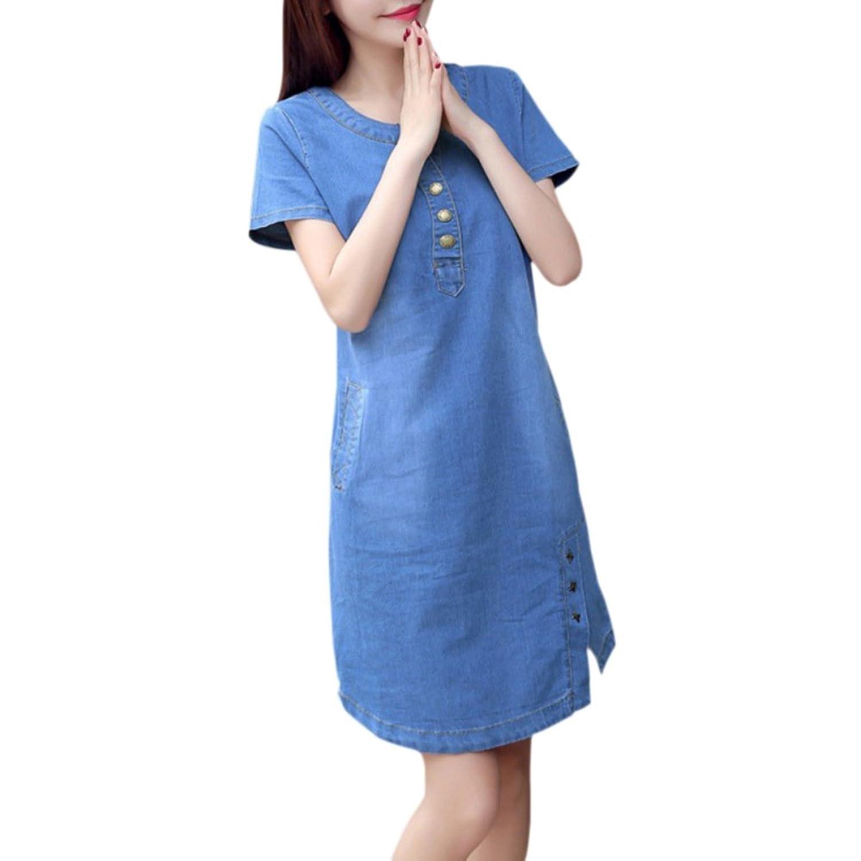 Yiitay Women Summer Plus Size Denim Dresses Casual Elegant Cowboy ...