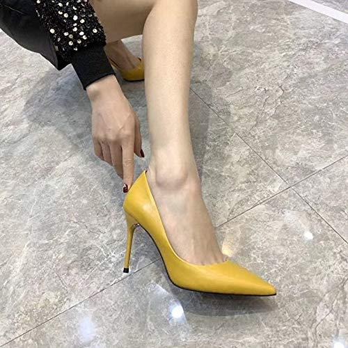 87d9ec94 Tacones Zapatos Tacón Alto Del Altos Yellow Con Las Hoesczs Finos De Cuero  Resorte Mujeres nk0POw