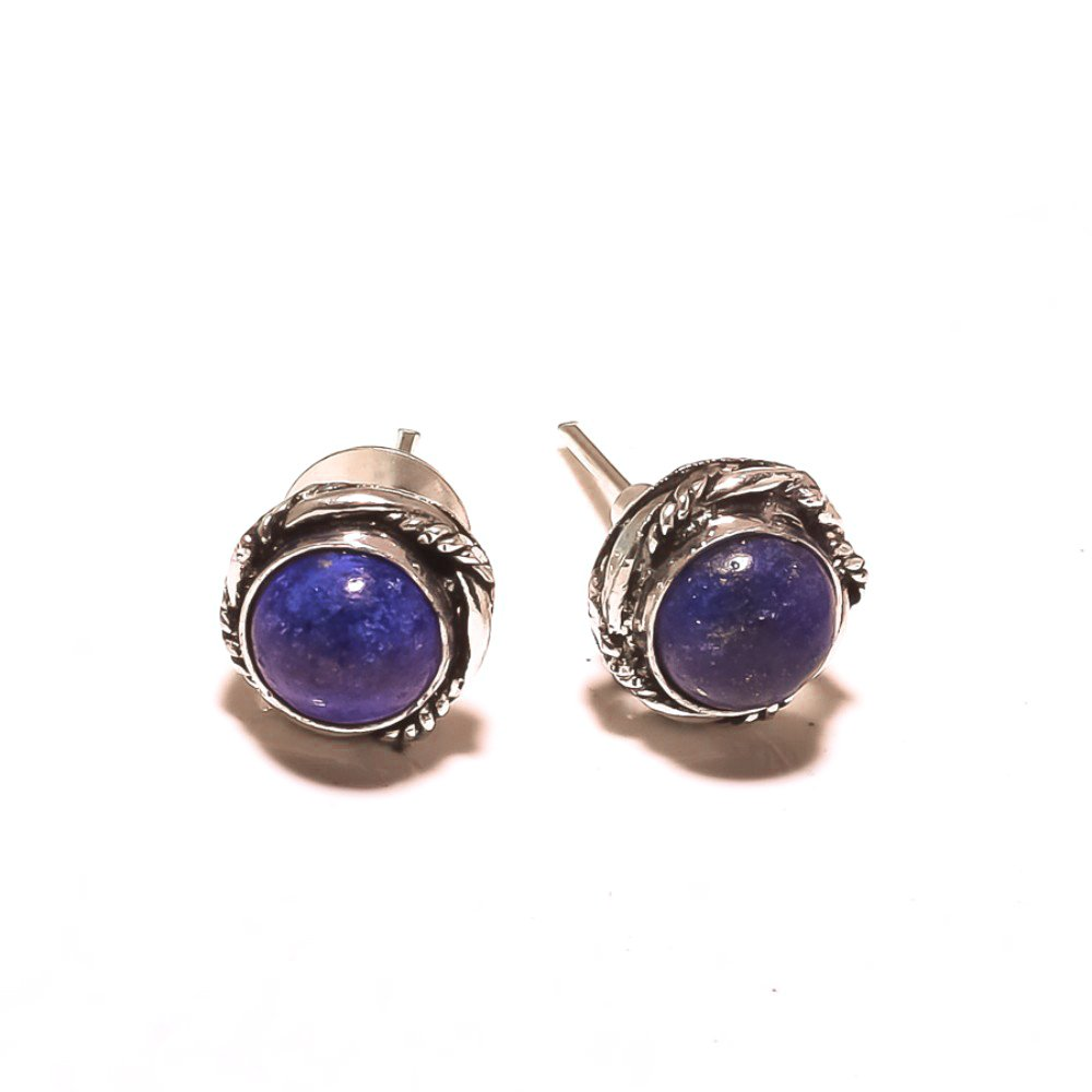 Blue LAPIS LAZULI! Woman's STUD/EARRING, GIFT FOR MOTHER! Silver Plated, HANDMADE Art Jewelry! Best Variety Store, 4 mm