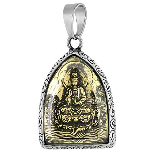 Sabrina Silver Stainless Steel Guan Shi Yin Pendant for Men Faceted Glass Cover Two Tone 1 1/2 inch