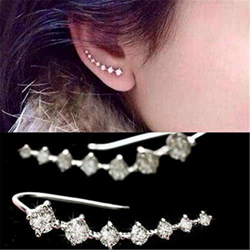 Chokushop Top Quality New Four-Prong Setting 7pcs CZ Diamonds 18K Gold Plated Ear Hook Stud Earrings Jewelry G444